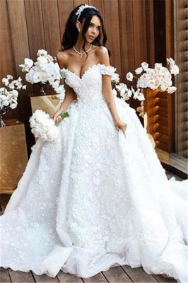 Off The Shoulder Appliques Luxury Wedding Dresses Princess Ball Gown Sexy Bride Dress_2