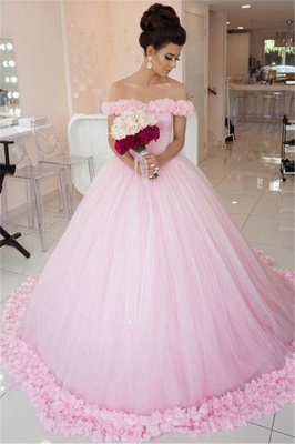 Chic Pink Off The Shoulder Evening Dresses  Ball Gown Flowers Puffy Wedding Dresses_2
