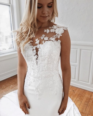 Affordable Lace Appliques Mermaid Wedding Dresses | Bridal Gowns Online_3