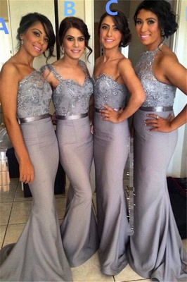 Grey Satin Diverse Long Bridesmaid Dresses Sexy Mermaid  Applique Wedding Dress_1