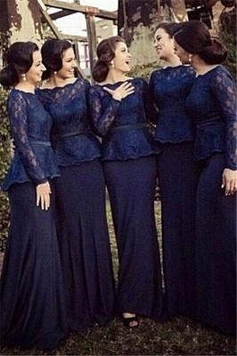 Blue Long Sleeve Charming Bridesmaid Dress Bateau Sweep Train Elegant Mother Dress_1