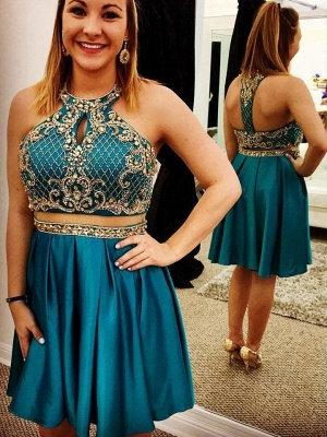 Two-Pieces Jewel Beading Appliques Short Homecoming Dress