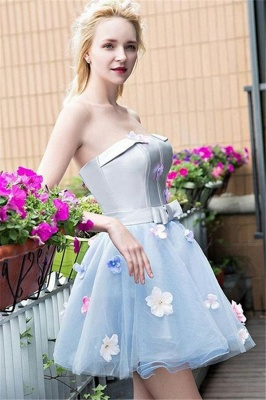 Flowers Strapless Satin Tulle Homecoming Dress_1