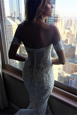Sexy Mermaid Embroider Off-the-shoulder Zipper Wedding Dress_3