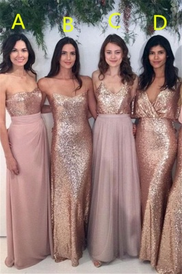 Sexy Sequins  Bridesmaid Dresses | Chiffon Floor Length  Maid Of Honor Dresses Online_2