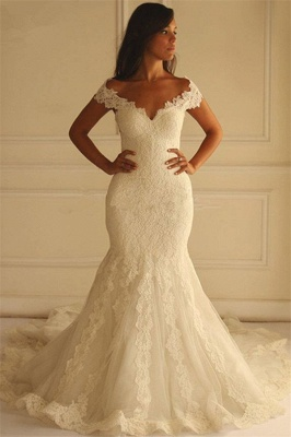 Elegant Off-The-Shoulder Mermaid Lace-Applique Wedding Dresses_2