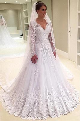 V-Neck Appliques Long-Sleeves Elegant Tulle A-Line Beadings Wedding Dress_4
