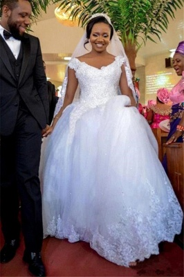 Lace-Appliques Ball-Gown Gorgeous Cap-Sleeve Long Tulle Wedding Dress_3