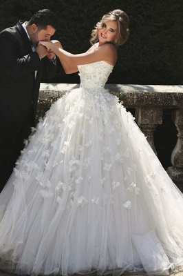 Vintage Sweetheart Tulle Ball Gown Wedding Dress with Flowers Lace Custom Made  Bridal Gowns_3