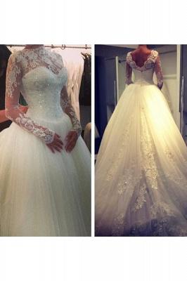 High Neck Long Sleeve Princess Wedding Dress Ball Gown Lace  Bridal Dress_2
