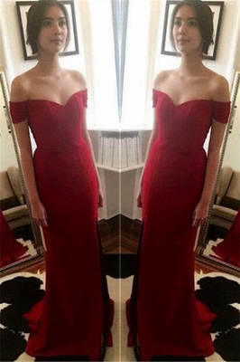 Red Off The Shoulder Prom Dresses   Evening Dress for Bridesmaid with Split BA3543_2