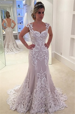 Elegant Lace Cap-sleeve Wedding Dress  | Mermaid Sweep-Train Bridal Gowns_2