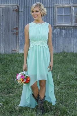 New Arrival Chiffon A-Line  Bridesmaid Dress Lace Applique Hi-Lo Wedding Party Dress_2