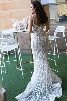 Gorgeous Lace Mermaid Wedding Dresses Cheap with Detachable Train   Straps Sexy Sleeveless Bride Dress_3