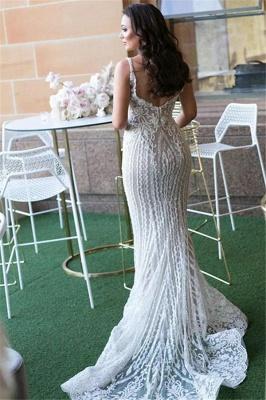 Gorgeous Lace Mermaid Wedding Dresses  with Detachable Train | Straps Sexy Sleeveless Bride Dress_3