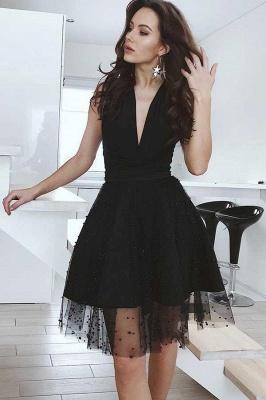 Black Tulle Deep-V-Neck Sleeveless Homecoming Dress_1