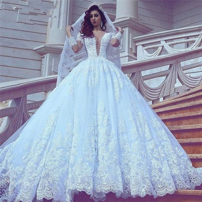 Modest Lace Long-Sleeve Court-Train Ball-Gown V-neck Wedding Dress_3
