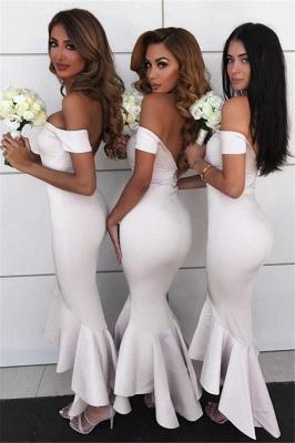 Simple Hi-Lo Mermaid Bridesmaid Dresses  | Off Shoudler Zipper Wedding Party Dress_3