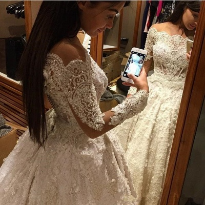 Vintage Ball Gown  Lace Wedding Gowns Beaded Appliques Long Sleeves Lace Bride Dresses BA3212_4