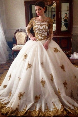 Luxury Wedding Dress  Scoop Long Sleeve Gold Lace Beading Ball Gown Bridal Dress with Long Train BA7676_2