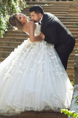 Vintage Sweetheart Tulle Ball Gown Wedding Dress with Flowers Lace Custom Made  Bridal Gowns_4