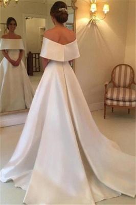 White A-line Satin Wedding Dresses |  Off the Shoulder Court Train Simple Bridal Gowns_3