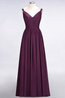 A-line Chiffon Straps V-Neck Summer Backless Floor-Length Bridesmaid Dress UK with Ruffles_1
