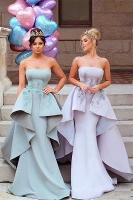 Elegant Applique Long Mermaid Strapless Bridesmaid Dress with Detachable Train_2