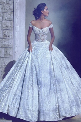 Glamorous Ball-Gown Off-The-Shoulder Wedding Dresses | Long Lace Bridal Gowns_2