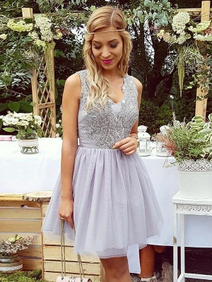 Lace Straps Short Homgcoming Dress_1