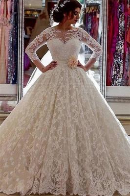 Sheer Church Train Lace  Ball Gown Bride Dress Sleeves Long Vintage Illusion Arabic Wedding Dress_2