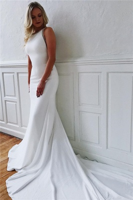 Alluring Jewel Mermaid White Chiffon Wedding Dresses Sleeveless V-Back Rhinestones Bridal Gowns On Sale_1
