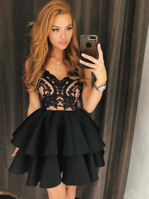 Black Straps A-Line Lace Homecoming Dress