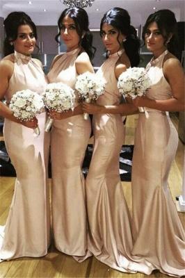 Elegant Halter Simple Long Bridesmaid Dress New Arrival Plus Size Wedding Party Dress_2