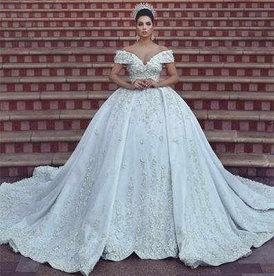 Princess Lace Appliques Wedding Dress with Beads| Off The Shoulder Ball Gown Bride Dress with Long Train_6