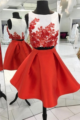Two-Pieces Red Flowers Jewel Sleeveless Homecoming Dress_1