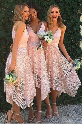 Sleeveless Newest Spaghetti Strap Tea Length Lace Bridesmaid Dress_2