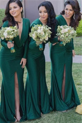 Long-Sleeves Sexy Mermaid Green V-Neck Front-Split Bridesmaid Dresses_2