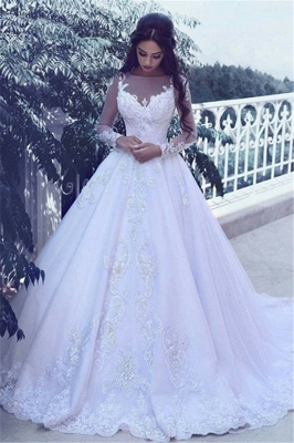 Elegant Tulle Appliques Long Sleeves Wedding Dresses  Bridal Ball Gowns_2
