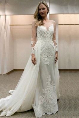 Open-Back Simple Appliques Sheath Long-Sleeves Tulle Wedding Dress_2