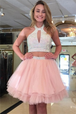 Sexy Two-Pieces Tulle Sequins Halter Homecoming Dress_1