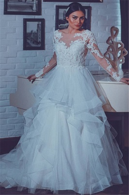 White Lace-Appliques Wedding Dresses |  Open-Back Long-Sleeves Bridal Gowns_2