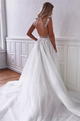 Gorgeous Straps Tulle Lace White Wedding Dresses Sexy Appliques Backless Bridal Gowns On Sale_2