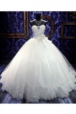 White Sweetheart Charming Organza Wedding Gowns Ball Gown Sleeveless Tiered Sash  Bridal Dresses_2