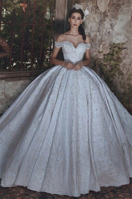 New Arrival Off-the-Shoulder Lace Wedding Dresses  Crystal Lace-Up Ball Bridal Gowns_2