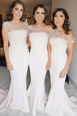 Elegant Sheath One Shoulder Bridesmaid Dresses |  Simple Appliques Wedding Party Dresses_2