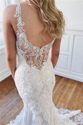 Vintage Straps Lace Crystal Mermaid Wedding Dresses Appliques Rhinestones Bridal Gowns On Sale_2