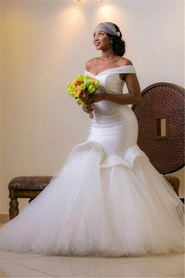 Tulle Mermaid White Glamorous Beads Sweep-Train Lace-up Off-the-shoulder Wedding Dress_4