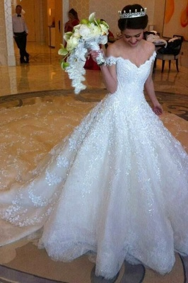 Latest Off Shoulder White Ball Gown Wedding Dress Popular Lace Court Train Bridal Gowns_5
