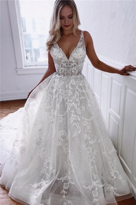 Glamorous A-line Spaghetti Straps V-Neck Lace Wedding Dresses | Bridal Gowns Online_1